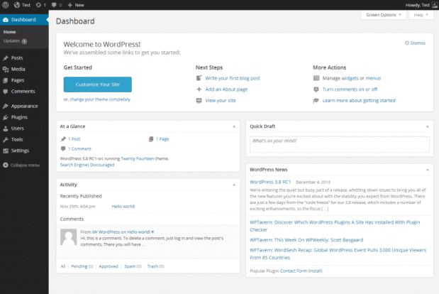 Understand the WordPress Settings and Dashboard