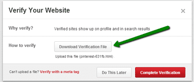 Upload Pinterest verification file to WordPress