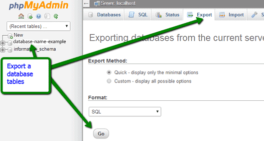 export a database in WordPress