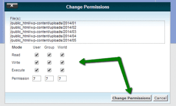 Change images file permissions on linux