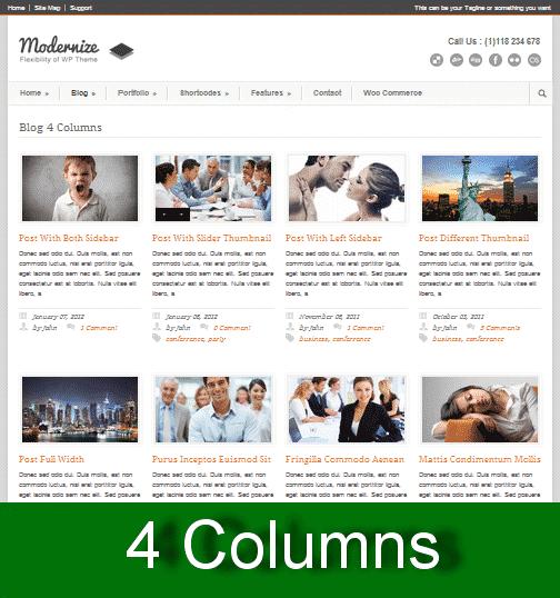 4 columns wordpress themes