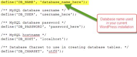 Database Name in WordPress