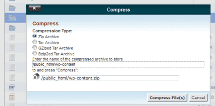cpanel file manager compress