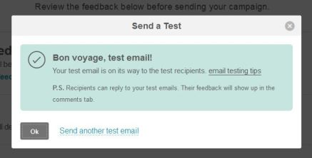 Email test sent