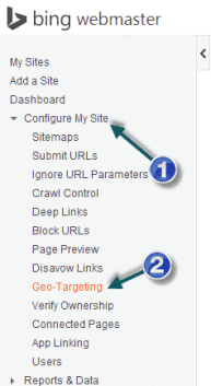 How to Geo target a specefic page for Bing Search