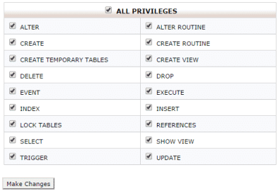 Edit MySQL User Privileges