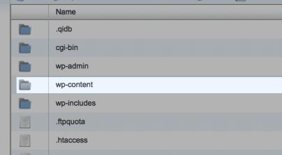 WordPress content folder