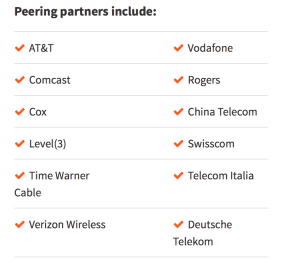 MaxCDN Peering partners