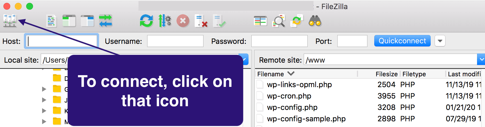 Starting a connection on FileZilla