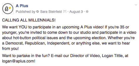 A Plus millennial video