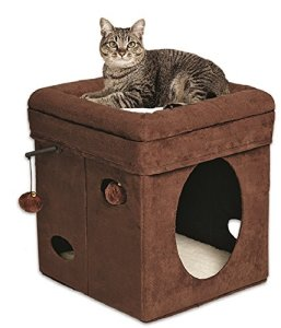 10. Midwest Homes for Pets Curious Cat Cube, Brown Suede