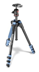 4. Manfrotto BeFree Compact Aluminum Travel Tripod Blue