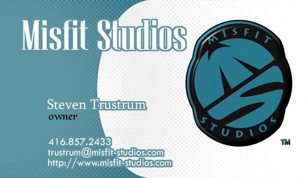 Steven Trustrum Misfit Studios Business Card