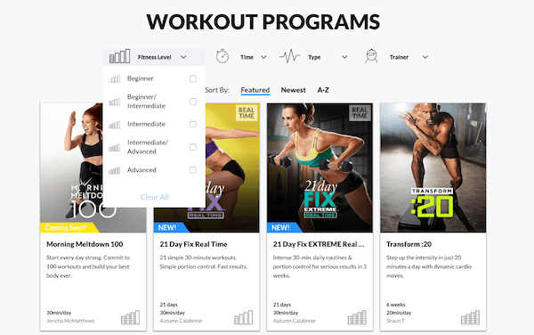 Beachbody On Demand workouts