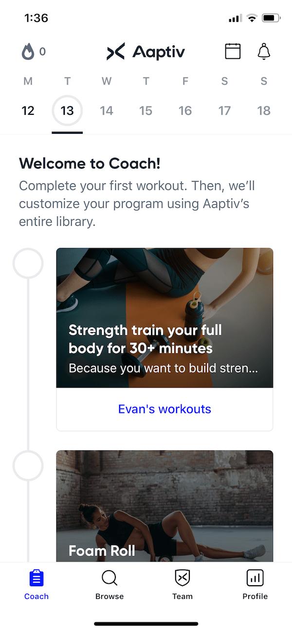 Aaptiv coach workouts