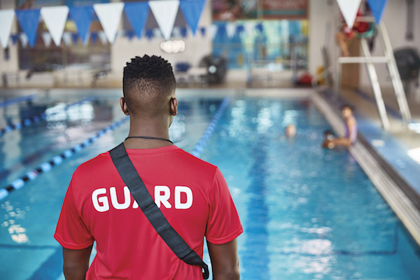 Swimming pool and lifeguard at YMCA