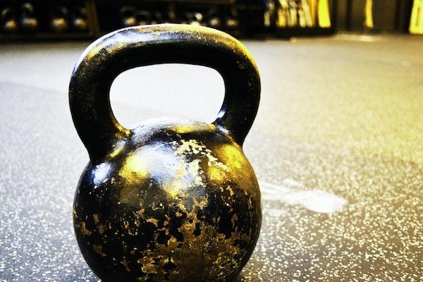 A kettlebell on gym floor