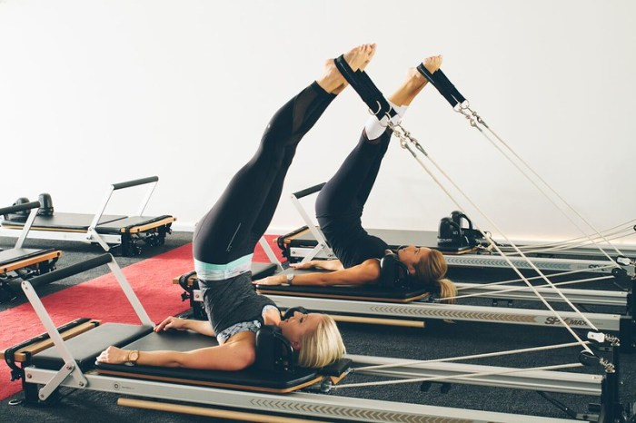 Woman on pilates reformer
