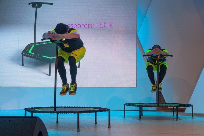 A trampoline fitness class in action