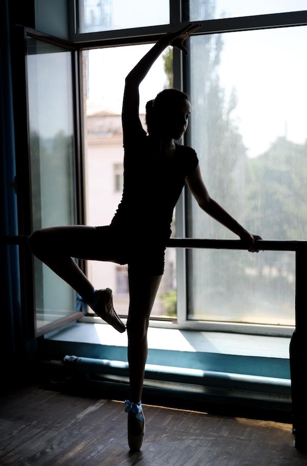 Ballet workout at barre studio