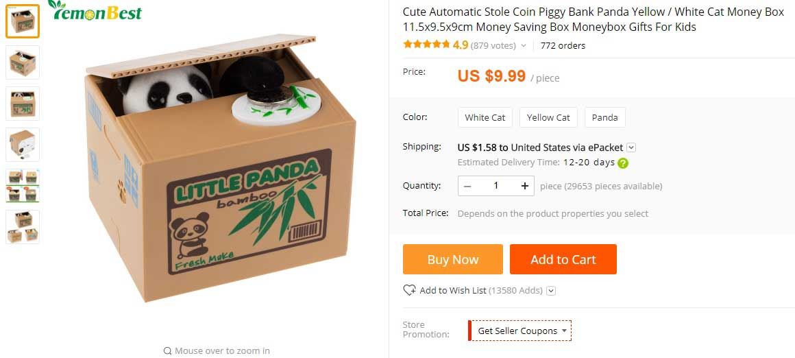 Image of product from AliExpress - screenshot of Stole Coin Piggy Bank