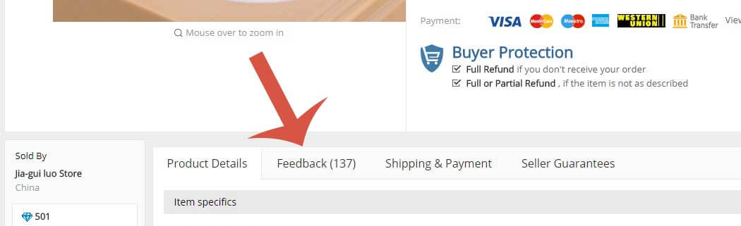 Screenshot of customer feedback feature.