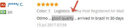 Screenshot of quality feedback from AliExpress.