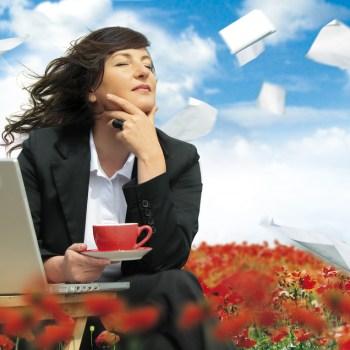 business woman enjoying taking a break