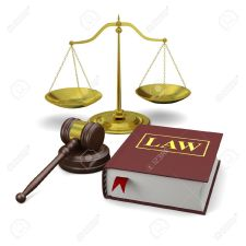 scale, gavel and law book