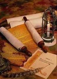 Scrolls and lamp