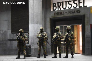Soldiers stand guard in front of the central train station on November 22, 2015 in Brussels, as the Belgian capital remained on the highest security alert level over fears of a Paris-style attack. AFP PHOTO / Emmanuel Dunand (Photo credit should read EMMANUEL DUNAND/AFP/Getty Images)