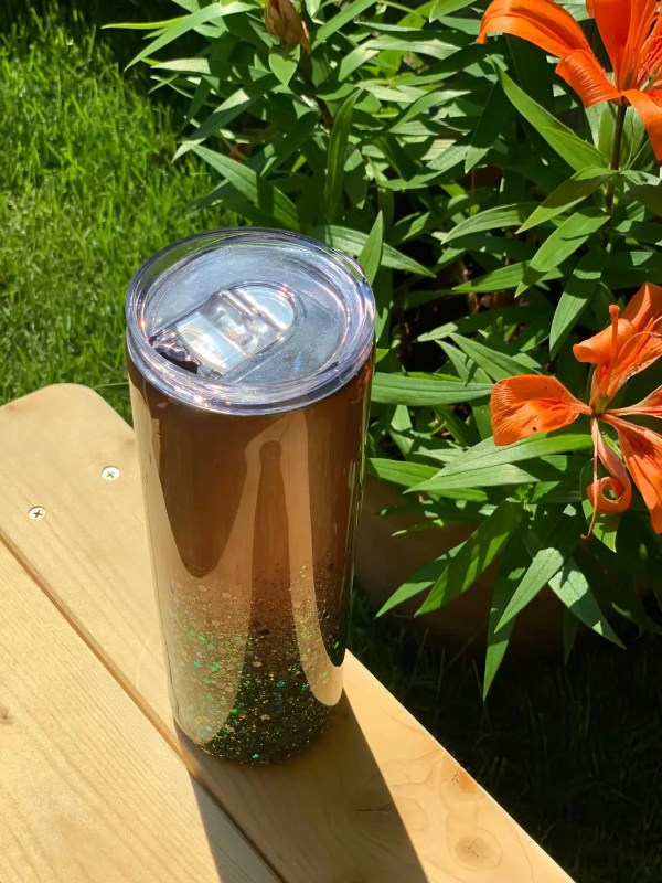 Treasured Heart Collection Tumbler. 20oz. Standing up right.