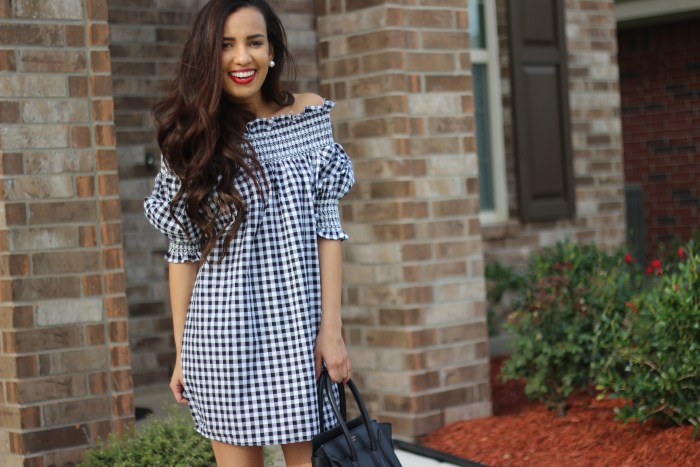 Chicwish Gingham OTS Dress | Truth or Flares