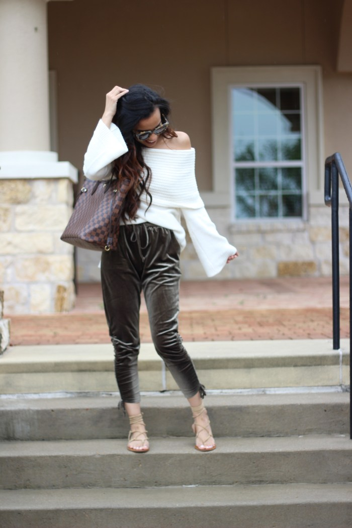 Off the Shoulder Sweater and Velvet Joggers