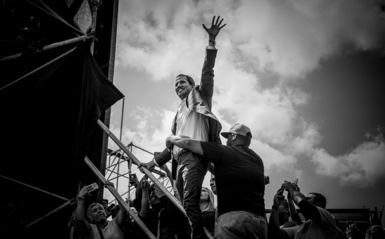 Juan Guaidó engages supporters in Caracas, Venezuela, on February 2, 2019.