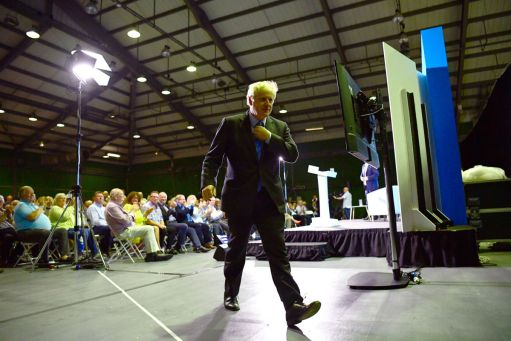 Boris Johnson leaves the stage after addressing Conservative Party members on July 13, 2019, in Colchester, England.