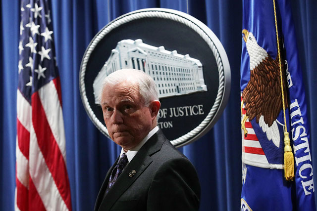 Attorney General Jeff Sessions listens during a news conference at the Justice Department November 29, 2017 in Washington, DC. (Photo: Alex Wong / Getty Images)
