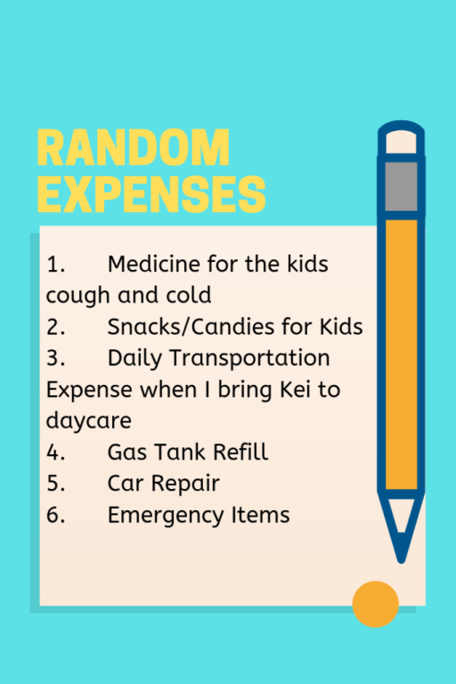 sixth step and random expenses that a family spends