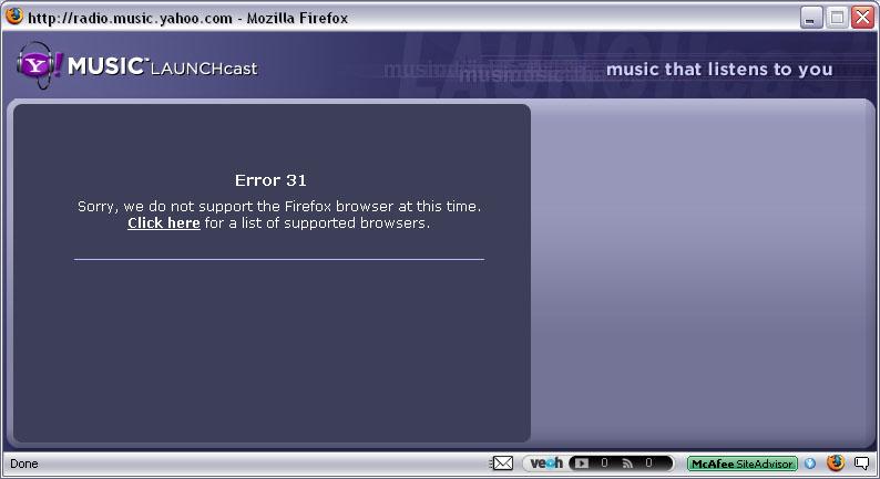 The error dialog