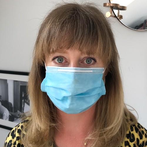 Photo of Jess Brammar - Former Editor-in-Chief, HuffpostUK wearing a COVID mask