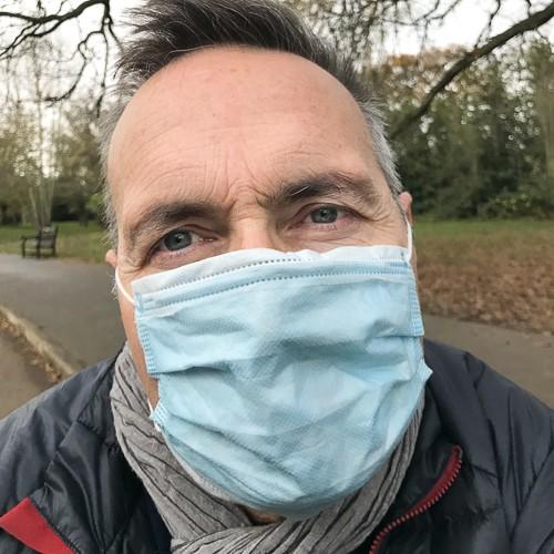 photograph of BBC Newsnight journalist Richard Watson wearing a Covid Mask.