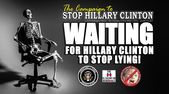 If YOU detest Hillary as much as we do, take a moment to go visit (and like) our Sister Page on Facebook, the Campaign To Stop Hillary Clinton. You'll find up to date and relevant news items, information and memes that shed light on the reality that is the CRIMINAL, Hillary R. Clinton.