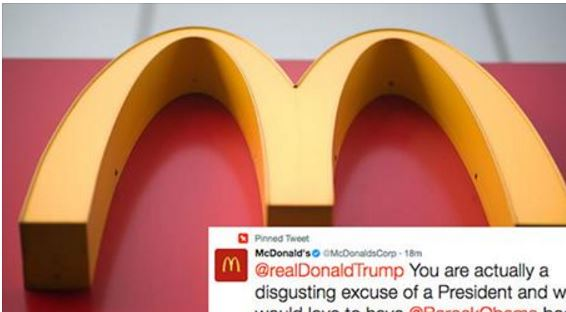 """McDonald's Just Called President Trump """"A Disgusting Excuse Of A President"""" On Twitter"""