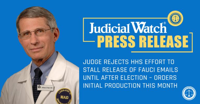 Judicial Watch Press Release