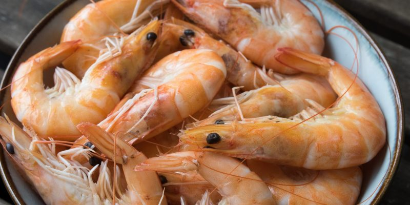 raw shrimps in bowl