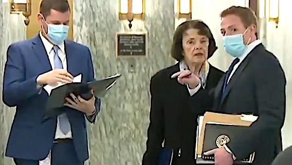 Senator Dianne Feinstein without mask