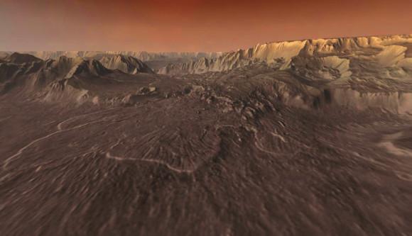 Выкат оползня на дне Долины Маринера. Масштаб оползня - миллиард тонн, длина языка - около сотни километров, высота, с которой он сорвался, - 4.5 км. Извивающийся боковой каньон, впадающий в Долину Маринера. Таких боковых каньонов довольно много, их можно различить на первом снимке в левой трети системы - они «впадают» с юга, т.е. снизу. Предполагается, что они прорыты текущей водой, как ущелья земных гор.