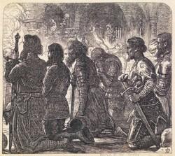 Молитва перед битвой рыцарей Жана IV де Бомануара (1310–1366/1367). Джон Милле (1829–1896). Иллюстрация к английскому переводу «Бретонских песен»