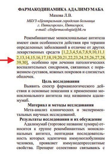 Рис. 1. Пример стиля цитирования в журналах издательского дома «Академия естествознания» [3]. Из этих 30 ссылок 28 сделаны на журналы этого «дома»