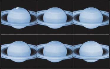 10. Новые данные о полярных сияниях на Сатурне. Совместное изучение аврор на Сатурне Cassini и телескопом «Хаббл» (Hubble) показало всю сложность этих явлений. Оказывается, они зависят не только от солнечной активности, но и, скажем, от движения Мимаса и Энцелада.
